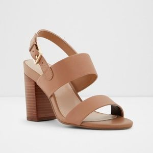 Aldo brown leather heeled sandals size 9